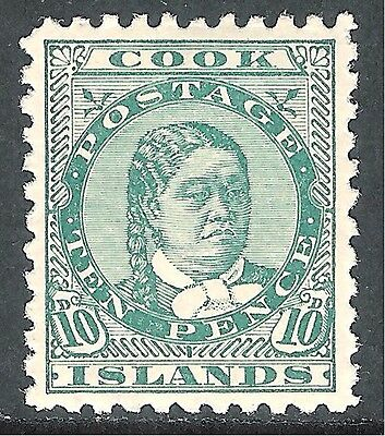 Cook Islands 1896 green 10d  perf 11 mint SG19