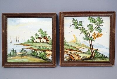 Pair Early 20c Italian Faience Majolica Landscape Painted Plaques Castelli