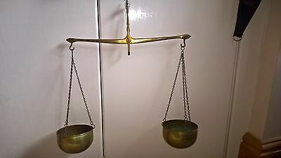 Vintage Copper & Brass Hanging Balancing Scales Copper Chain & Bowl