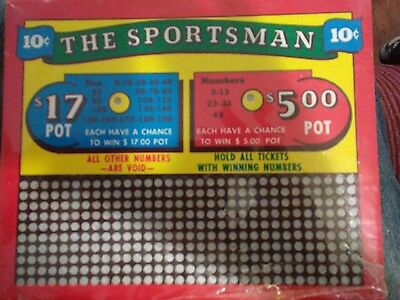 """Vintage 10 CENT """"the Sportsman""""  Punch board new unused"""