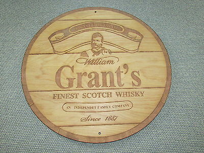 """William Grant's Scotch Whiskey 12"""" Round Wood Sign barrel Top Style"""