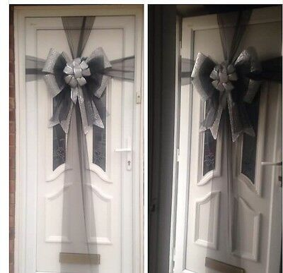 Door Bows Christmas Celebration Decoration Black & Silver Glitter Bow With Sash
