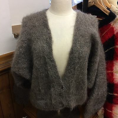 Grey Mohair Batwing Sleeve Cardigan Vintage Retro 1980s Size Large