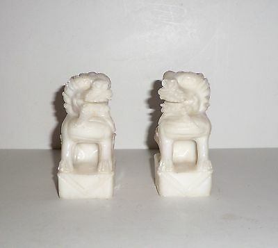 Vintage Chinese Export Hand Carved Stone Guardian Foo Lion Statues  Pair Of 2