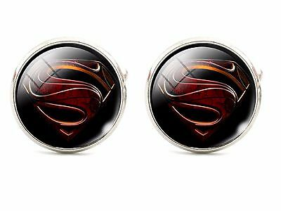925 Silver Plated Man Of Steel Cufflinks Cuff links Superman UK Seller Movie