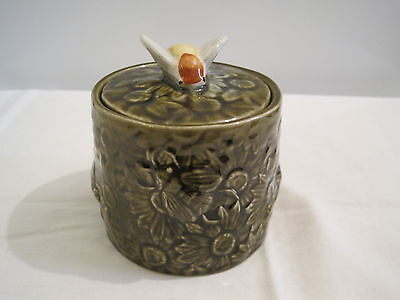 Vintage honey pot Green with a bee on the top made in Portugal