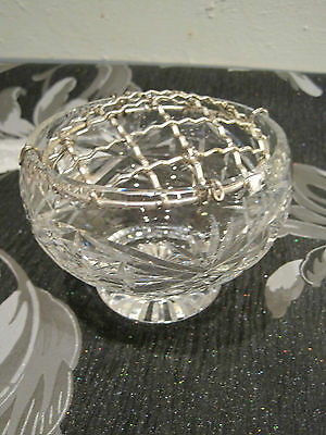Webb cut crystal glass rose bowl with mesh top backstamped