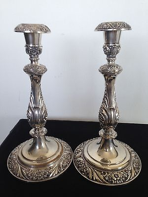 Pair Of Old  Silver Plated Candle Holders