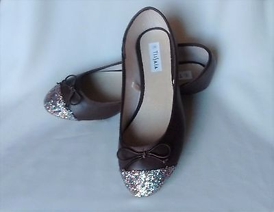 Ladies Womens Tissaia Brown With Glitter Flat Dolly Shoes Size 6.5 (40) New