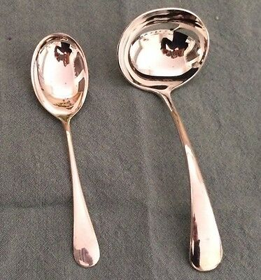 BIRKS OLD ENGLISH Pattern Regency Plate Gravy Ladle and Sugar Spoon