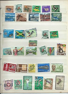 Jamaica stamps. Stock page of used. (Y240)
