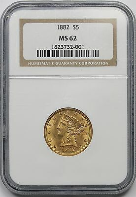 1882 Liberty Head Gold Half Eagle $5 MS 62 NGC