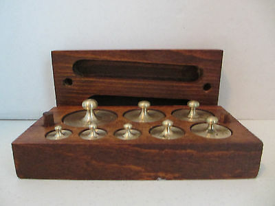 8 Pc Set Of Brass Scale Weights In Wooden Storage Box  #14