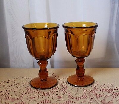 """2 Amber Imperial Glass OLD WILLIAMSBURG Juice Liqueur Glasses 5.25"""" Tall"""