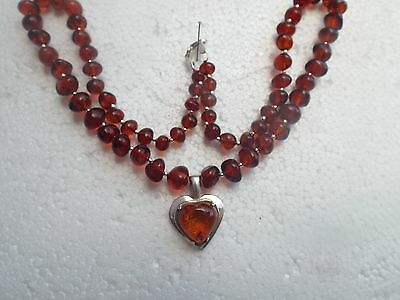 Natural Baltic amber necklace with heart - 19.3 grams