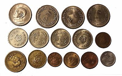 Taiwan 15 coins different value, different years