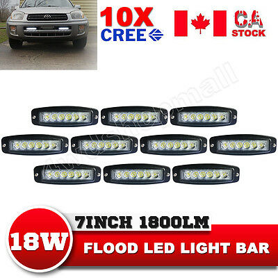 10X 7Inch 18W CREE Flood LED Light Bar Offroad Driving 4WD Truck SUV Flush Mount