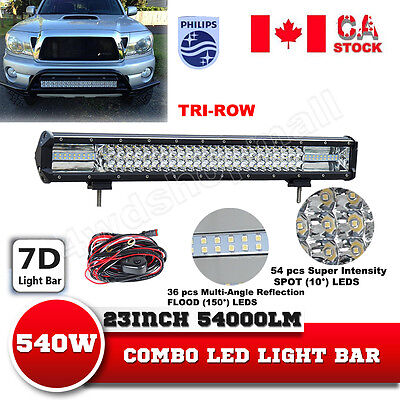 23'' inch Tri-Row 540W LED Light Bar PHILIPS Off road Jeep 4WD Truck Wiring Kit