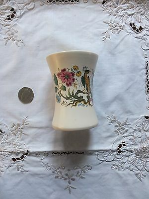 Purbeck, Poole England VASE or pen pot. Crested Bird & Flowers