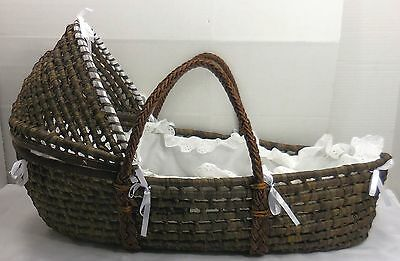 Badger Moses Basket Portable Baby Bassinet Bed Detachable Hood Brown White 5095
