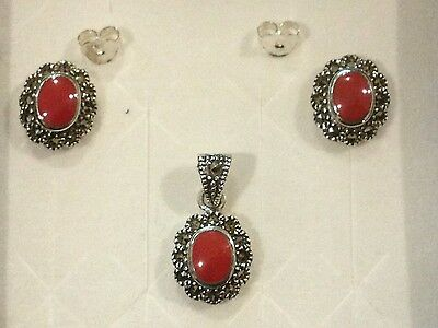 Red Chroma, Swiss Marcasite Earrings & Pendant In Sterling Silver
