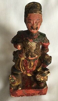 ANTIQUE ASIAN CHINESE EARLY 1900'sCARVED WOOD POLYCHROME FIGURINE STATUE.