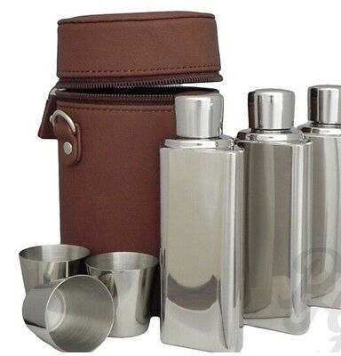 3 stainless Steel hip flasks and drinking cups with leather carrier