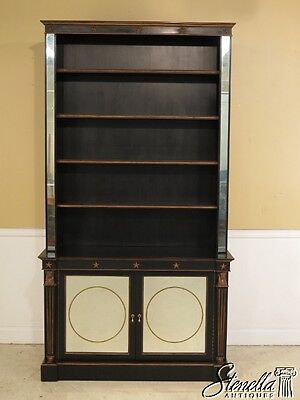 28438E: THEODORE ALEXANDER Egyptian Regency Style Black & Mirrored Open Bookcase