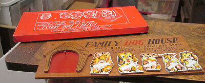 Old Vintage Unused 1950's Japan Wooden Family Puppies Dog House Plaque W Box