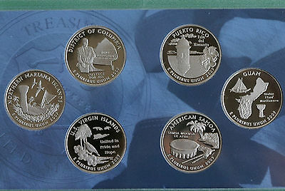 2009 Proof Quarter Set DC & US Territories 6 Coins ONLY No Box State Quarters
