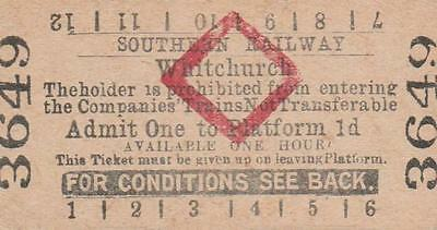 Southern Railway Red Diamond Platform Ticket WHITCHURCH 3649