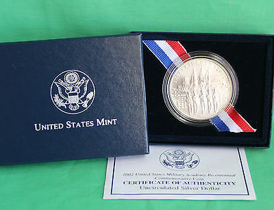 2002 BU West Point Military Academy UNCIRCULATED 90% Silver Dollar US Mint COIN