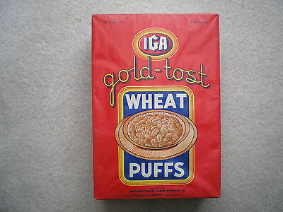 IGA Gold-Tost Wheat Puffs Cereal Box 1938 Complete