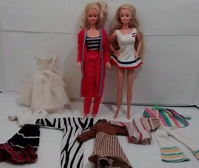 Lot of 2 Vintage Barbie Dolls1966 Made in Philippines Taiwan 12 pcs Clothing