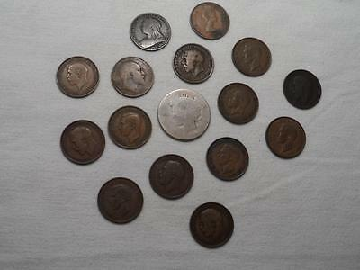 Lot  of  15  Great  Britain  ONE  CENT  COINS  Plus  PEACE  DOLLAR