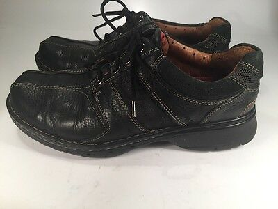 Clarks Unstructured Black Leather Loafers Men's Size 9.5W Lace-up