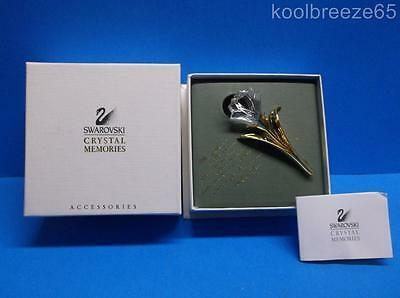 Swarovski Crystal Memories Lily Brooch Pin Swan Signed Retired Gold Tone Jewelry