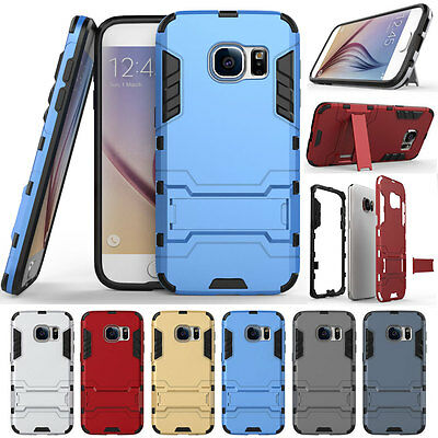 Shockproof Hybrid Rugged Rubber Stand Armor Case For Samsung Galaxy S7-Blue