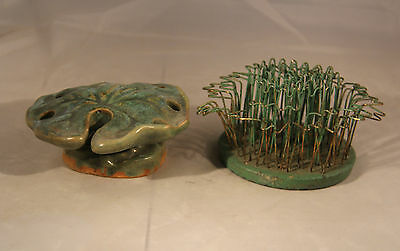 Fulper Pottery Lily pad  Flower Frog and green Metal Blue Ribbon Flower Holder