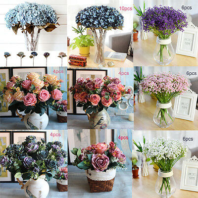 Artificial Fake Bouquet Rose Silk Flowers Home Brithday Wedding Party Decoration