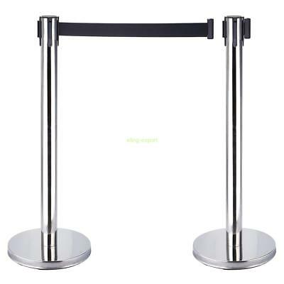 2PCS Stanchion Posts Queue Pole Retractable Black Belt Crowd Control Barrier
