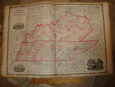 1863 ORIGINAL, KENTUCKY & TENNESSEE, Hand Colored, large, Johnson antique map