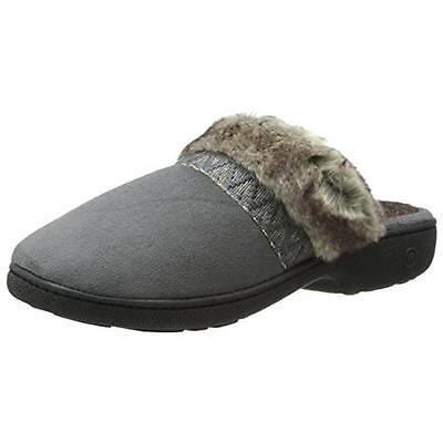 Isotoner 3669 Womens Hazel Gray Microsuede Clog Slippers Shoes L 8.5-9 BHFO
