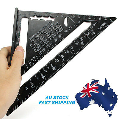 New 7inch Black Roofing Triangle Ruler Aluminum Alloy Speed Square Metric System