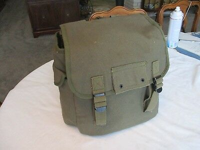 Vintage Heavy Duty Olive Drab Canvas Knapsack Backpack Rucksack