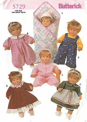 """14-15"""", 17-18"""" BABY DOLL CLOTHES Butterick 5729 Sewing Pattern UNCUT ©2001"""