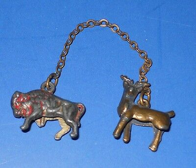 """Antique Metal Sweater Clasp - 3/4"""" Buffalo + 3/4"""" Elk on 2 1/2"""" Chain"""