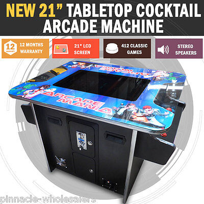 "NEW 21.5"" LCD Arcade Machine Tabletop Upright Cocktail Video Game Pinball Pool"