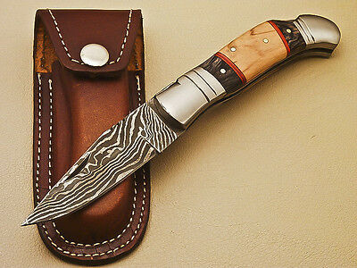 Awesome Custom Hand Forged Damascus Steel Pocket Folding Knife - R-4027