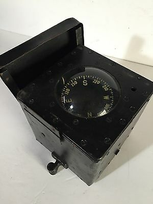 John E Hand & Son Cherry Hill Nautical Ships Compass In Black Case Hardware